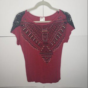 Vocal Red and Black Embellished Lace Top Small